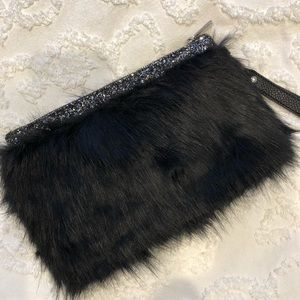 (Never Used) Black Faux Fur Clutch